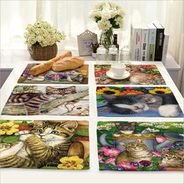 Wholesale Dishware Wholesale - Wholesale- Home Decor Cute Cat Placemat Linen Fabric Table Mat Dishware coasters For Kitchen Accessories Wedding Party Decoration
