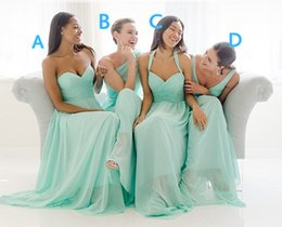 Wholesale Halter Sweetheart Chiffon Wedding Dress - 2015 Mint Green 4 Styles Bridesmaid Dresses For Wedding Chiffon Long Backless Sweetheart Halter V Neck Cheap Bridesmaid Dresses Plus Size