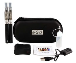 Wholesale Double E Cigarette Kit - CE4 Double kits eGo zipper case starter kit e cigs electronic cigarette CE4 atomizer 650mah 900mah 1100mah battery cig vapor vaporizer