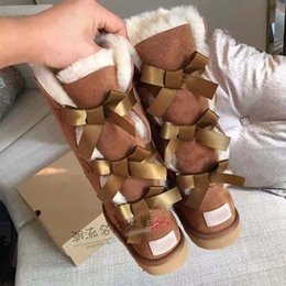 Wholesale High Heel Snow Boots Winter - 2017 new Australian real leather snow boots, goat fur, winter bow ribbon, high insulation and waterproof boots