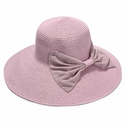 Wholesale Straw Sombreros - Wholesale- Women Summer Straw Hat Ladies Elegant Large Brim Beach Sun Hats With Bowknot Holiday Sombrero Mujer