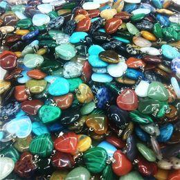 Wholesale Black Quartz Pendant - (In stock)24 Colors Natural Stone Heart Pendant Amethyst Green Aventurine Pink Crystal Stone Necklace Pendant Rose Flower Natural Stone