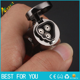 Wholesale High Flame - New hot 100% High Quality Guarantee Windproof Triple Jet Flame Torch Cigar Lighter Refillable Gas Cigarette Cigar Lighter with Keychain