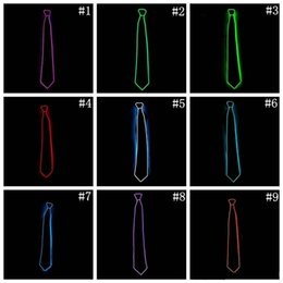Wholesale Glowing Tie - New EL Tie Light Up LED Flashing Striped Glowing EL Tie Luminous Necktie For Men Club Cosplay Party Bar Show