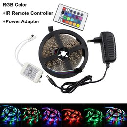 Wholesale Rgb Remote Kit - 3528 60Leds M 5M LED Strip Light Kit Non-Waterproof RGB +24key IR Remote Controller+12V 2A Power Adapter