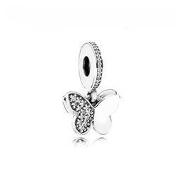 Wholesale butterfly dangle - Authentic 925 Silver Beads Silver Fluttering Butterflies Dangle Charm, Clear CZ Fits European Style Jewelry Bracelets