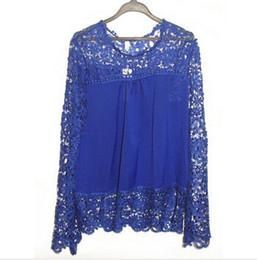 Wholesale Crochet Blusa - 5XL Large Size Fashion Women Lace Long Sleeve Chiffon Blouses Crochet Blusa Tops Blusas Femininas Camisa