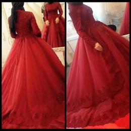 Canada 2018 robe de bal rouge vintage islamique musulman formelle robes de soirée col haut manches longues en dentelle appliques abayas caftan robes de bal formelles supplier islamic red dress Offre