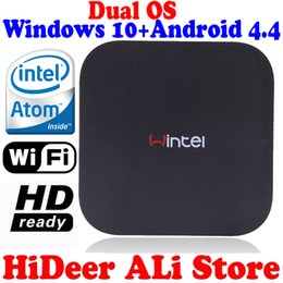 Wholesale Os Player - New Windows 8.1 OS and rooted Android 4.4.4 Dual system MINI PC Intel Quad Core CPU 2G+32G wintel TV Box multimedia player