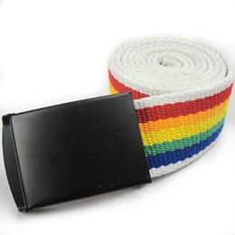 Wholesale Cheap Belt Buckles For Women - 2016 Rainbow canvas belt for gay and Lesbian pride LGBT supplies cheap price wholesale free shipping