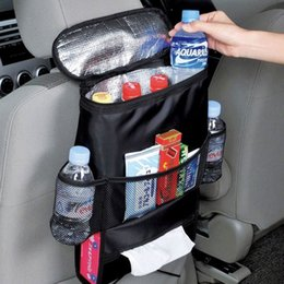 Wholesale Hanging Pocket Chairs - hot Car Auto Vehicle Seat Chair Back Foldable Organizer Punch Multi-pocket Holder Hanging travel Storage Cooler Insulated Bag free shipping