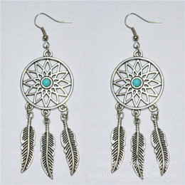 Wholesale Dreamcatcher Charms - Feather Charms Filigree Dreamcatcher ear hook 925 silver Fish Hook Earrings Dangle Antique Silver 2.8cmx8.5cm