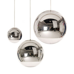 Wholesale Hotel Mirrors - Modern Tom Dixon Mirror Glass Ball Pendant Lights Restaurant Chrome Globle Pendant Lamps Kitchen Hanging Light Fixture Luminaira