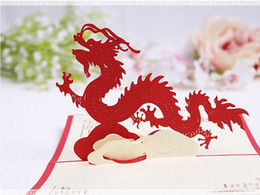 Wholesale Kirigami Ship - Wholesale The Chinese dragon card   3D kirigami card  handmade greeting cards gift for men Free shipping