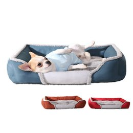 Wholesale Blue Kennel - Winter warm dog bed kennel Pet nest breathable cushion cotton kennel Washable dog mattress Teddy creative square cat litter