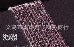 Wholesale Chaton Strass - Wholesale-High quality(10 yard lot) 3mm ss12 Purple crystal rhinestone silver chain, strass chain,chaton cup chain for crystal trimming