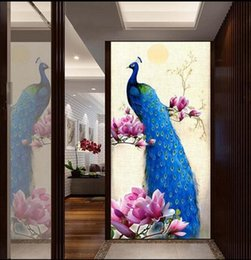 Wholesale Oil Canvas House - Modern Peacock Flower Hallway Wallpaper 3D Embossed Oil Canvas Wall Mural for Living Room Bedroom Wallpapers Entrance Wall Paper