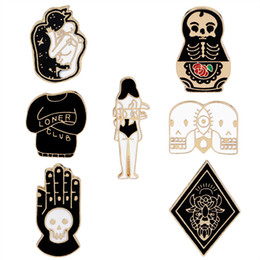 Wholesale clothing buttons wholesale - Vintage Jewelry Evil Hard Enamel Pins Punk Skeleton Skull Palm Totem Introvert Loner Brooch Lapel Pin Button Clothes Bag Badges