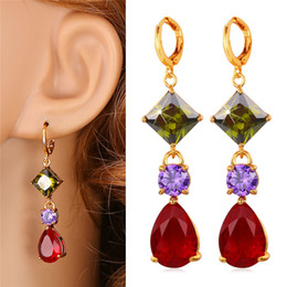 Wholesale Valentine Gift For Engagement - Valentine Red Cubic Zircon Drop Earrings Platinum 18K Real Gold Plated Multi-color Festival Gift For Women Fashion Jewelry E1118
