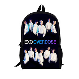 Wholesale exo style - Wholesale-EXO OVER DOSE 2015 fashion school backpack men book bag famous Brand 3d printing pack travel Bags for teenagers girls boys fans