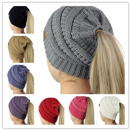 Wholesale Pink Ski Hats - 8 Colors Women CC Ponytail Caps Knitted Beanie Fashion Girls Winter Warm Hat Back Hole Pony Tail Autumn Casual Beanies Acrylic