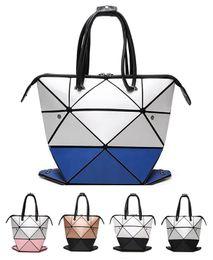 Wholesale Handbag Mirror Silver - Women BaoBao Bag Geometry Sequins Mirror Saser Plain Folding Bags changeable Handbag Casual Tote Bao Bao Bucket bag Japan south Korean style