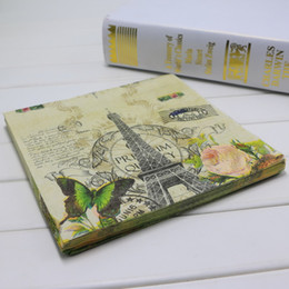 Wholesale Vintage Napkins Wholesale - Wholesale-Eiffel Tower & Butterfly & Rose Festive & Party vintage paper napkins decoupage 1Pack 20pcs PCM1524