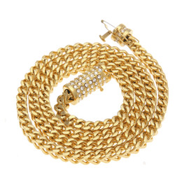 Wholesale Industry Gold - 2017 new style hip hop necklace silver, gold heavy industry set diamond - covered stainless steel for men's big necklace pendant