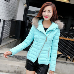 Wholesale Cheap Ladies Hoodies - New 2015 Winter Coats Women Jackets Short Big Fur Collar Hoodies Ladies Down Cotton Padded Coat China Cheap Clothing
