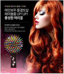 Wholesale Wigs Volume - Candy Rainbow Comb Anti-static Hair Brush Volume Massage Hairbrush With Mirror For Brazilian Indian Extension Human Wig Hair Tangle 1pcs lot