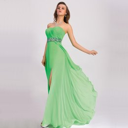 Wholesale Strapless Floor Length Flowing Dress - Flowing Chiffon Green Prom Dresses 2016 Cris Cross Pleats Strapless Crystal Empire Beach Long Prom Dresses Bridesmaid Dresses Vestido P1113P