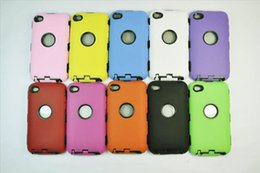 Wholesale Itouch Back Cover - Silicone Plastic Defender Silicone Plastic Case Back Cover for ipod touch 4 4th 4G 5 5G Case iPod Toch itouch 4 4G 5 5G Robot Duty Case