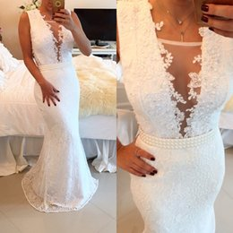 Wholesale Sexy Lace Tank - White Appliques Scoop Neckline Mermaid Evening Dresses Long Elegant Prom Dresses Peplum Pearls Lace Custom Made Celebrity Dress sh0023