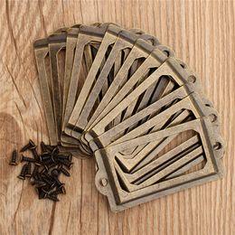 Wholesale Ceramic Pulls For Cabinets - 12Pcs Antique Brass Metal Label Pull Frame Handle File Name Card Holder For Furniture Cabinet Drawer Box Case Bin order<$18no track