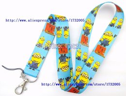 Wholesale Despicable Neck Strap - Wholesale-New 10 Pcs Despicable Me Cello Phone Lanyards Neck Strap Keys Camera ID Card Lanyard Free Shipping LM090