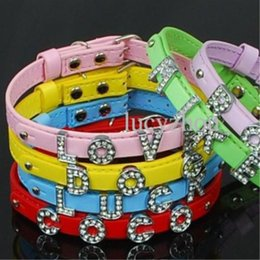 Wholesale Dog Collars 8mm - 8mm A-Z DIY Slide Letter Charming Small Dog Cat Collar PU Super Cute Pet Necklace Supplier Top Quality 5 Color Mix Order 20PCS LOT