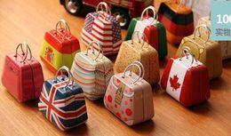 Wholesale Mini Handbag Tin - 20pcs 3.5*3.5*5.5cm Mini Small Tin Coin Box Purse Case Jewelry Storage Boxes For Earrings Necklace Handbag wedding Candy Box British Flags