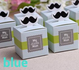 "Wholesale Chocolate Shower Favors - Wholesale- 20pcs ""My Little Man"" Mustache Blue Green Birthday boy baby shower Candy Box Gift Packaging Chocolate Boxes Baby Shower Favors"