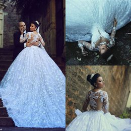 Wholesale Stylish Bridal Dresses - Stylish Lace Applique Ball Gown Wedding Dresses With Long Sleeve Sheer Plunging Neck Beads Sequin Cathedral Train Bridal Gown