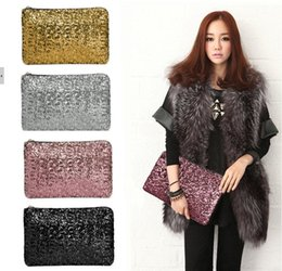 Wholesale Sparkle Clutch Purse - DHL FREE sparkling clutch bags evening bag Fashion Dazzling Glitter Bling Sequins women Evening Party purse Bag Handbag for Women 29X19CM