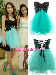 Wholesale Strapless Mint Prom Dress - 2015 Sexy New Mint Sweetheart Tulle Mini Homecoming Party Dresses Lace Appliques Cocktail Evening Short Prom Gowns With Lace Up Back BO6364