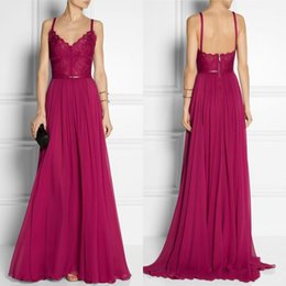 Wholesale Elie Saab Spaghetti V Neck - Sexy Spaghetti V Neck Lace Top Chiffon Sweep Train Plus Size Formal Evening Prom Dresses 2015 Elie Saab Dresses EA0446