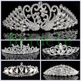 Wholesale Korean Wedding Hair Accessories - 2016 New Arrival Fashion Korean Rhinestone Crystal Tiara Crown Bridal Wedding Accessories Free Shipping
