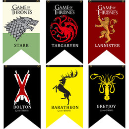 Bandiera satinata online-SATIN 10 Styles 70 * 125cm Game Of Thrones Stark flag Giochi Banner COS banner flag Home / Bar decora