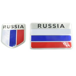 Wholesale High Reflective Stickers - 3D High Quality Aluminum Russia Flag Car Sticker Accessories Car styling National Badge Auto Decorative Emblem
