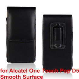 Wholesale Ot Cover - High Quality PU Leather Mobile Phone Case Belt Clip Pouch Cover Case For Alcatel One Touch POP D5 5038E 5038D OT-5038E