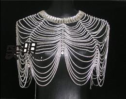 Wholesale Shoulder Epaulets Bridal - 2015 New Vintage Wedding Bridal Ladies Jewelry Set Silver Crystal Rhinestone Shining Shoulder Long Full Body Chain Necklace Epaulet Jacket