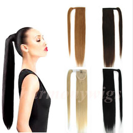 Wholesale 22inch Brazilian Hair - Brazilian hair Ponytail Human Hair Ponytails 20 22inch 100g Straight Indian Clip Hair Extensions more color
