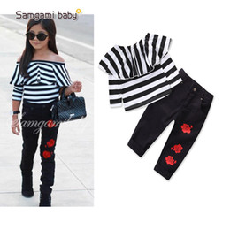 Wholesale new arrival girl s long - New Arrival 2018 Fashion Girls Striped T-shirts Tops + Rose Flower Pants 2piece Set Children Girl's Outfits Long Sleeve Black A8087