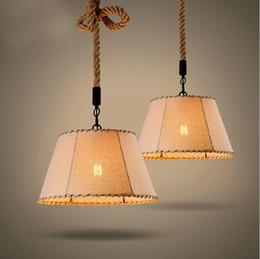 Wholesale cloth pendant light cord - Individuality Pendent Lamp Cloth Pendent Lamp Retro Style Bedroom Drawing Room Loft Bar Iron Pendent Lamp